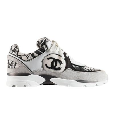 �ͧ��� Chanel - 2015 Hong Kong Shopping chanel sneakers white blue flower double c Graffiti shoes casual shoes running shoes Trave