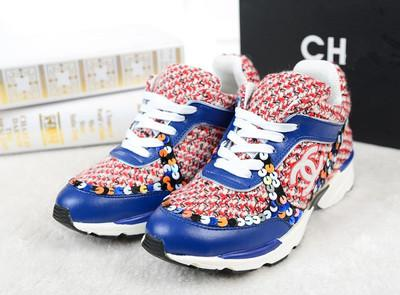 �ͧ��� Chanel - 2015 summer new Hong Kong purchasing chanel sneakers knit sequined shoes casual shoes breathable running shoes