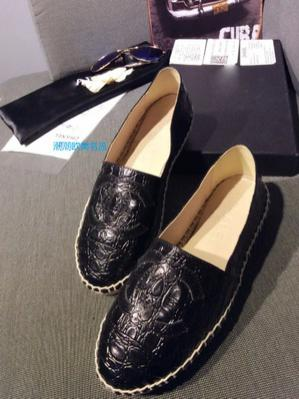 �ͧ��� Chanel - Small fragrant double c fisherman house alligator shoes, 15 new stone grain fisherman shoes double C flat shoes